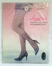 Angelina Black Rhinestone Pantyhose One Size Fit to 165 lbs 100% Nylon Butterfly