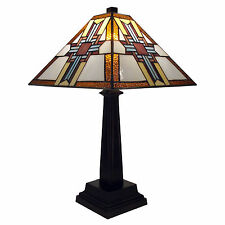 """Table Lamp Tiffany Mission Style Stained Glass Gold & Brown Shade 20"""" H x 11"""" W"""