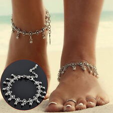 Girls Silver Anklet Bead Chain Ankle Bracelet Barefoot Sandal Beach Foot Jewelry
