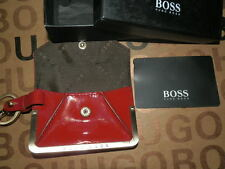NEW HUGO BOSS WOMANS MINI LEATHER WALLET KEYCHAIN KEYRING CLUTCH BAG MONEY PURSE