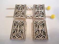 10 CENTS PER BEAD - 10 SILVER PLATED TIBETAN BALI 2 HOLE SLIDER SPACER BEADS BAR