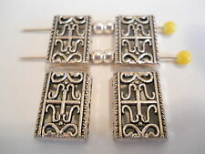 15 SILVER PLATED TIBETAN BALI 2 HOLE SLIDER SPACER BEADS BAR