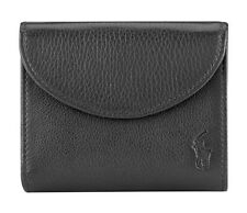 Genuine Ralph Lauren Polo Men Black Leather Snap Wallet Bi-Fold Coin Compartment
