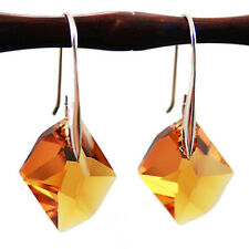 925 Sterling Silver Earrings Drop Maple Orange Crystal Genuine Swarovski Element