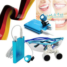 DE Dental Binocular Loupes lupe Zoom Glasses magnifying lens+LED Head Light Lamp
