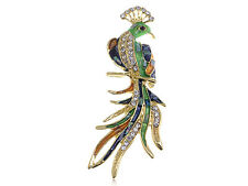 US Gold Abalone Sea Shell Painted Clear Diamante Rhinestone Phoenix Pin Brooch