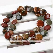 "1 Strand 12mm Coin Shape Picasso Jasper Gemstone Loose Stone Beads 15"" Findings"