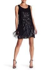 $418 PARKER SLEEVLESS SEQUIN EMBELLISHED FRINGE DRESS SIZE S SMALL