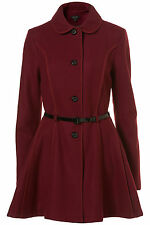 New TOPSHOP exposed seam skirted coat UK 6 in Plum