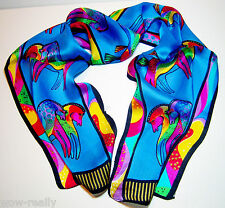 New Blue 100%Silk Neck Scarf Kerchief Lot Galloping Horse Animals Painting Scarf