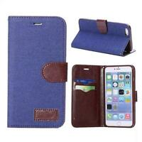 Denim & Leather Wallet Case for iphone 6 Plus with credit card slots