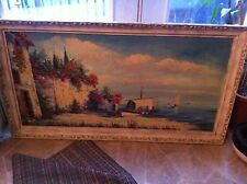 Large Gabri Oil Painting On Canvas 53x29 Beautiful Old Frame