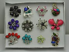 FASHION JEWELRY LOT 12 PCS MIX COLLECTION CHIC COCKTAIL COSTUME  RINGS #A-4