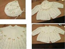 BABY COAT-HAT-MITTS-BOOTS SET PEACHES & CREAM PRETTY ROSE ADORNMENTS