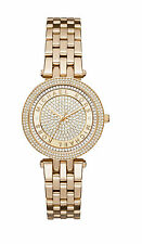 Michael Kors MK3445 Mini Darci Gold Slim Glitz Dial Logo Pave 33MM NEW AUTHENTIC