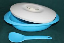 New Tupperware Blue Taffy Essentials Legacy Rice Server Storing Bowl with Spoon