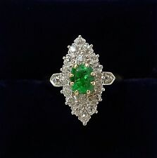 Antique Art Deco Emerald & 1.30ct Diamond Marquis  Ring In 18ct Rose Gold-size N