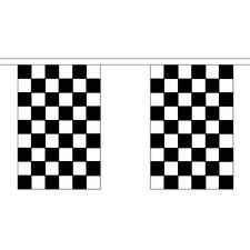 Black & White Check Chequered Giant Bunting 18.25m - 30 Flags 45cmx30cm F1 Party