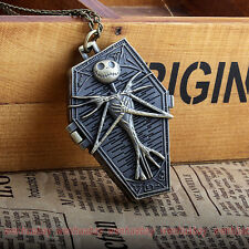 Retro Mens Boy Bronze Skull Irregular Shape Necklace Nightmare Pocket Watch P304