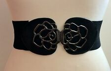 THICK ELASTIC WAIST BLACK BELT / CHUNKY SILVER FLOWER BUCKLE / ELASTICATED / 16