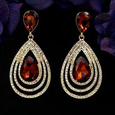 Gold Plated GP D. Topaz Crystal Rhinestone Chandelier Drop Dangle Earrings 08524