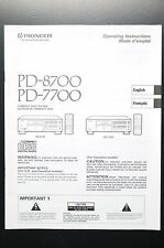 PIONEER PD-8700/PD-7700 Manual/User Owner`s Manual