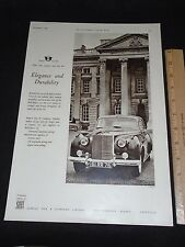 "Rolls-Royce Silver Fox Automobile Vintage 1958 LARGE UK Print Ad 10""X14"""
