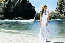 "NIGHTCAP FREE PEOPLE ANTHROPOLOGIE ""BELLA BEACH"" WHITE LACE BRIDAL MAXI DRESS XS"