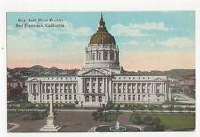 Civic Hall San Francisco USA Vintage Postcard 138a