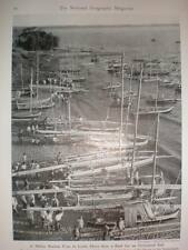 Malaysia Racing Prau and port Makassar 1940 printed photograph