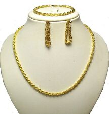 Women Girls Gold Tone Long Chain Necklace Earrings Bracelet Set