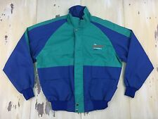 CHEVROLET - HEARTBEAT of AMERICA Vtg 90s Teal & Blue Zip-up Jacket, Mens LARGE