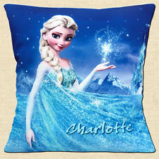 "PERSONALISED FROZEN Elsa  Stars Night Mountain ADD NAME 16"" Pillow Cushion Cover"