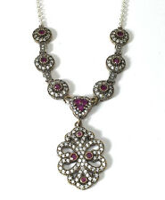 """Sterling Silver Gold Gild Red & White Simulated Stone Fashion 18"""" Necklace"""