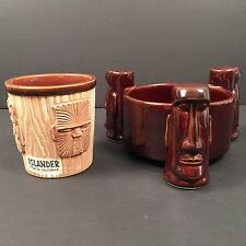 Islander Stockton California Three Moai Tiki Bowl Brown 3 Face Bucket OMC Japan