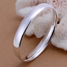925 Sterling Silver Layered Bangle Bracelet 10mm Classic Solid 46g Polished