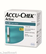 Accu-Chek Active 100 Test Strips, 2*50 Strips, 1 Code Chip