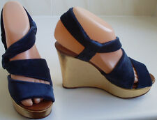 New ROCHAS Designer France Velvet Gold Wedge Sandals UK4 EU37 USA6.5 RRP GBP£470