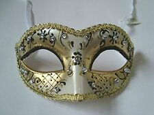 Venetian Masquerade Ball Fancy Dress Prom Mask ~  Gold & Black Glitter