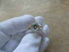 14k Yellow Gold All Natural Blue Aquamarine Solitaire Ring with 6 Diamond Accent