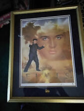 Very Beautiful Big Collectible Franklin Mint Print Of Elvis Presley In Frame
