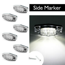 6x White LED Light Clearance Side Marker Truck trailer Surface Mount Clear Lens