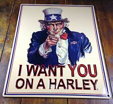 HARLEY DAVIDSON UNCLE SAM I WANT YOU HIGHLY EMBOSSED METAL ADVERTISING SIGN