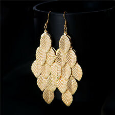 Fashion Ladies 18k Gold plated earring dangle/drop Lovely Leaves Jewelry gift