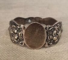 Unger Brothers Antique Art Nouveau Sterling Silver Evangeline Lady Napkin Ring