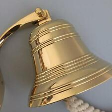"NEW - 4"" Pub Last Orders Wall Bell - SOLID Brass - Large - Hanging Ships Bell"