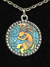 "BIN African Kokopelli Flute Player on Swirls Charm Tibetan Silver 18"" Necklace"