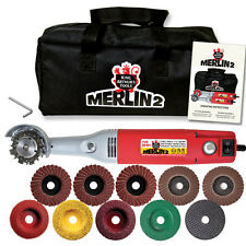 MERLIN 2 PREMIUM  WOOD CARVING SET WORLDS SMALLEST CHAIN SAW #10025FREE SHIPPING