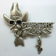 Country Western Brooch Pin; COUNTRY ROCKS Script, Antique Silver Plate, NEW