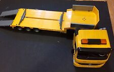 Bruder 1/16 scale  Yellow Construction  Toy Mercedes Truck AND TRAILER Germany
